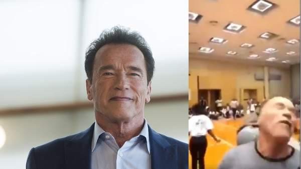 Patean por la espalda a Arnold Schwarzenegger en Sudáfrica. 1