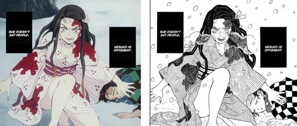 kimetsu no yaiba comparacion manga anime